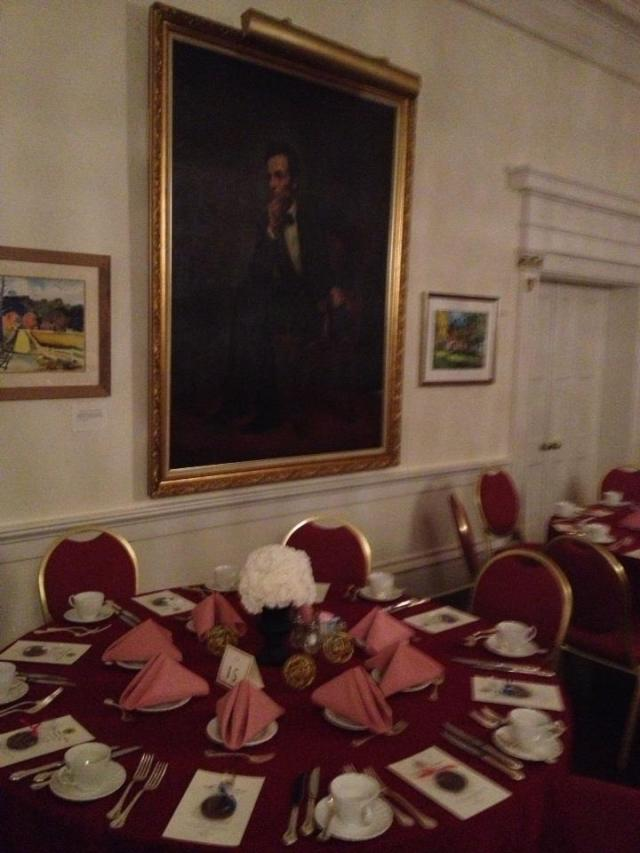 Abraham Lincoln's pondering how amazing the centerpieces look on such a small budget!