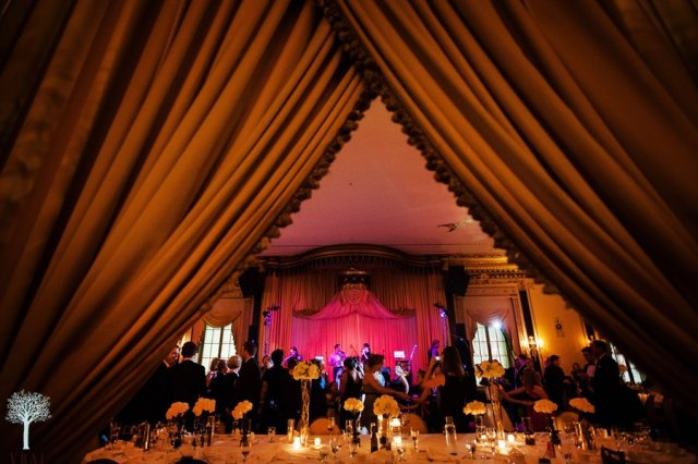 Sneak Peak view of the wedding celebration and main table.  Photo courtesy of Vrai Photography