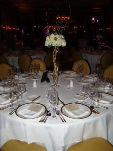 Tall centerpiece with gold curly willow base